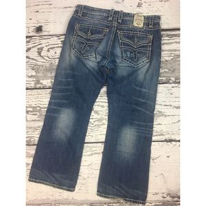 Rock Revival Jeans - Leon Relaxed Straight - 38x32